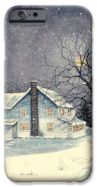 Winter's Silent Night IPhone Case by Janine Riley