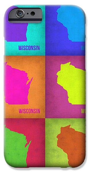 Wisconsin Pop Art Map 2 IPhone Case by Naxart Studio