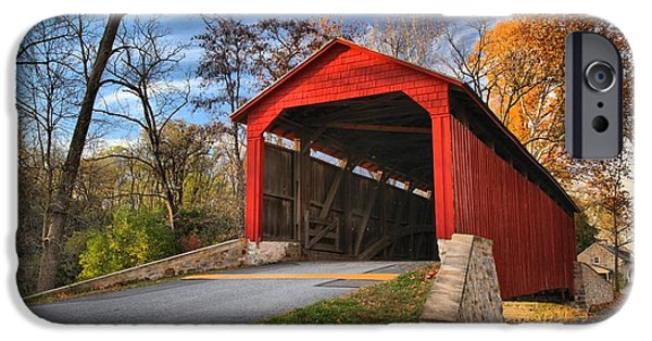 Wispy Clouds Over The Poole Forge Covered Bridge IPhone Case by Adam Jewell