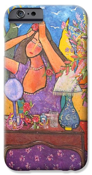 Woman At Dressing Table IPhone Case by Chaline Ouellet