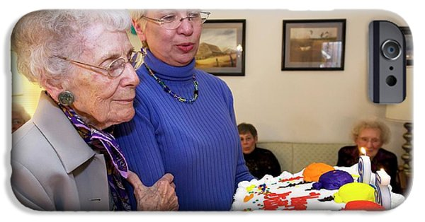 Woman Celebrating Her 95th Birthday IPhone Case by Jim West