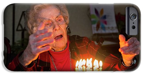 Woman Celebrating Her 99th Birthday IPhone Case by Jim West