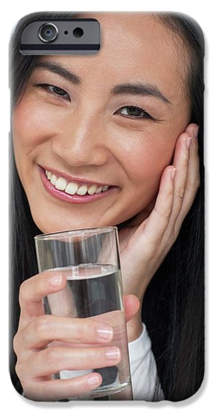 Woman Holding Glass Of Water IPhone Case by Ian Hooton