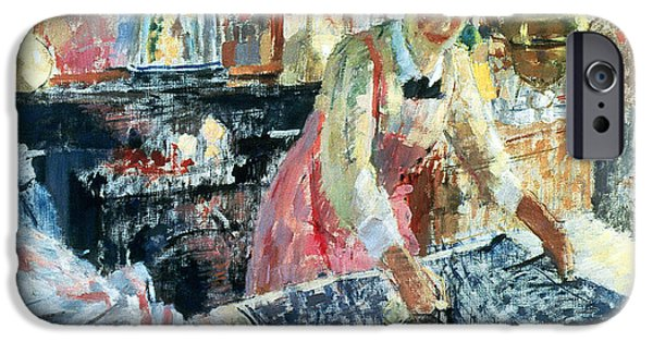 Woman Ironing IPhone Case by Rik Wouters