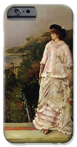 Woman On A Terrace IPhone Case by Alfred Emile Stevens