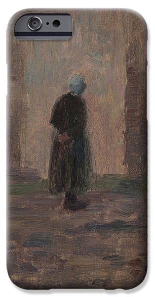 Woman Seen From Behind Standing Before A Wall  IPhone Case by Henri Duhem