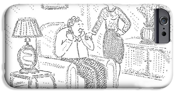 Woman Speaks To Man Sitting On Chair IPhone Case by Robert Mankoff