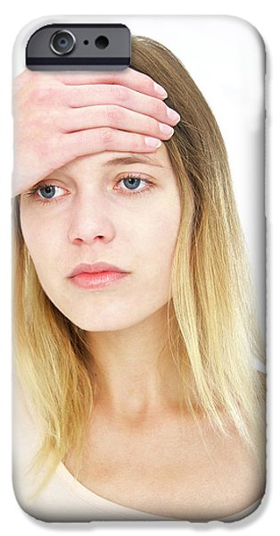 Woman With Hand On Forehead IPhone Case by Lea Paterson