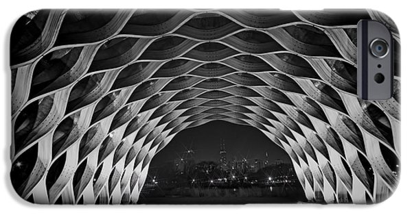 Wooden Archway With Chicago Skyline In Black And White IPhone Case by Sven Brogren