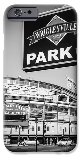 Wrigleyville Sign And Wrigley Field In Black And White IPhone 6s Case by Paul Velgos