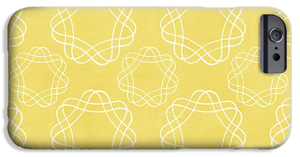 Yellow And White Geometric Floral  IPhone Case by Linda Woods