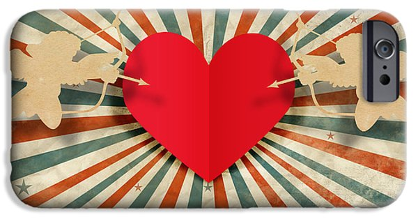 Heart And Cupid With Ray Background IPhone Case by Setsiri Silapasuwanchai