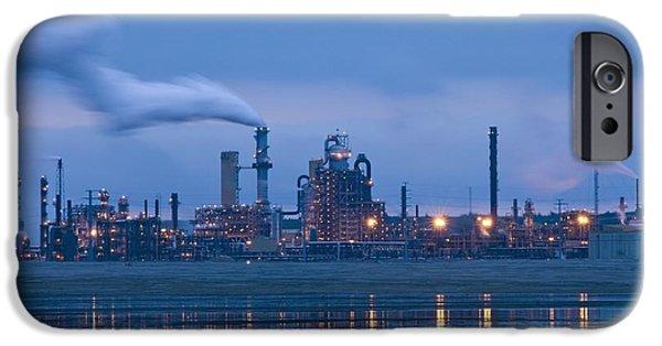 Oil Refinery At Dusk IPhone Case by David Nunuk