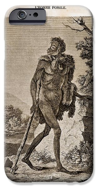 1838 Cave Man Engraving 'l'homme Fossile' IPhone Case by Paul D Stewart