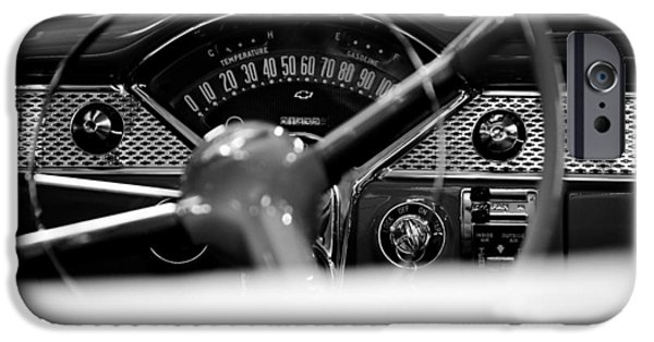 1955 Chevy Bel Air Dashboard In Black And White IPhone Case by Sebastian Musial