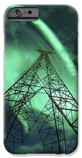 Powerlines And Aurora Borealis IPhone Case by Arild Heitmann