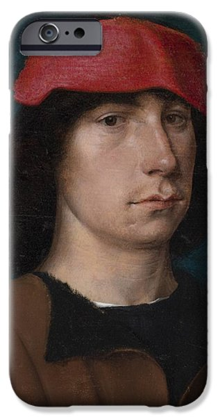 A Young Man In A Red Cap IPhone Case by Michiel Sittow