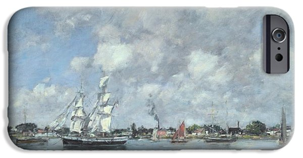 Boats On The Garonne IPhone Case by Eugene Boudin