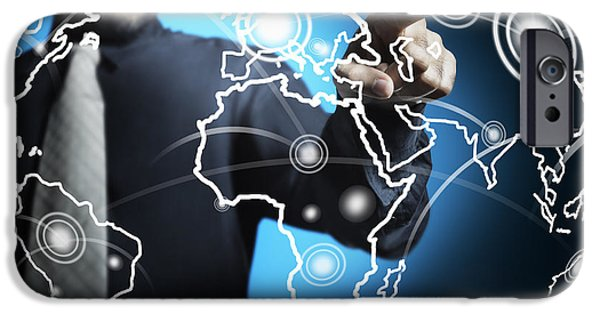 Businessman Touching World Map Screen IPhone Case by Setsiri Silapasuwanchai