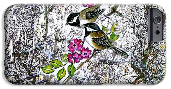 Chickadees In The Filbert Tree IPhone Case by Norma Boeckler