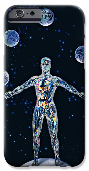 Cosmic Man Juggling Worlds, Artwork IPhone Case by Paul Biddle