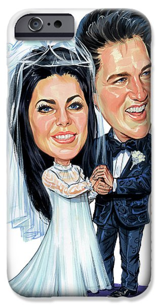 Elvis And Priscilla Presley IPhone Case by Art