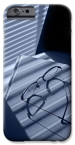 Eye Glasses Book And Venetian Blind In Blue IPhone Case by Randall Nyhof