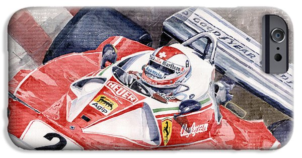 Ferrari 312 T 1976 Clay Regazzoni IPhone Case by Yuriy  Shevchuk