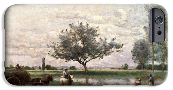 Haycart Beside A River  IPhone Case by Jean Baptiste Camille Corot