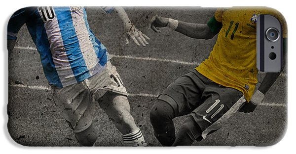 Lionel Messi And Neymar Clash Of The Titans Vii IPhone Case by Lee Dos Santos