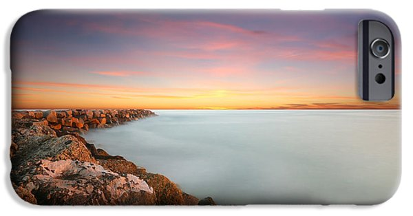 Oceanside Harbor Jetty Sunset IPhone Case by Larry Marshall