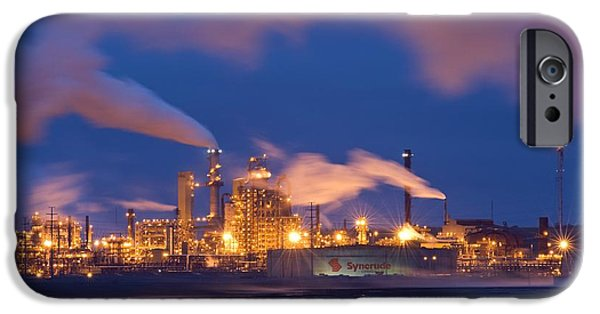 Oil Refinery At Night IPhone Case by David Nunuk