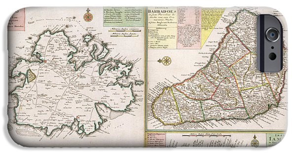 Old Map Of English Colonies In The Caribbean IPhone Case by German School