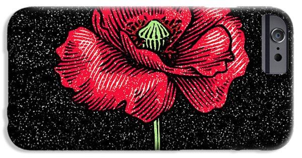 Poppy Flower, Woodcut IPhone Case by Gary Hincks