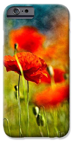 Red Poppy Flowers 01 IPhone Case by Nailia Schwarz