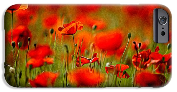 Red Poppy Flowers 02 IPhone Case by Nailia Schwarz