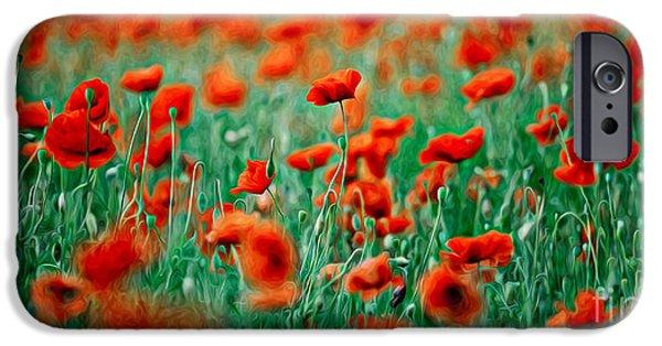 Red Poppy Flowers 04 IPhone Case by Nailia Schwarz