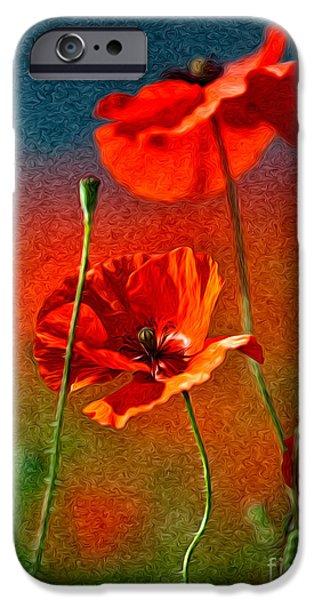 Red Poppy Flowers 08 IPhone Case by Nailia Schwarz