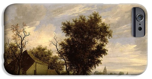 River Scene With A Ferry Boat IPhone Case by Salomon van Ruysdael