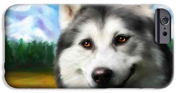 Smiling Siberian Husky  Painting IPhone Case by Michelle Wrighton