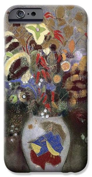 Still Life Of A Vase Of Flowers IPhone Case by Odilon Redon