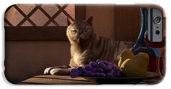 Still Life With Wine Fruit And Cat  IPhone 6s Case by Daniel Eskridge