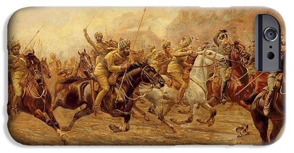 The Charge Of The Bengal Lancers At Neuve Chapelle IPhone Case by Derville Rowlandson