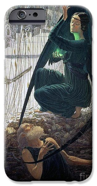 The Death And The Gravedigger IPhone Case by Carlos Schwabe
