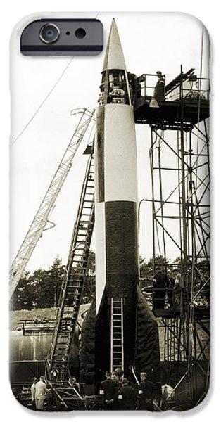 V-2 Prototype Rocket Prior To Launch IPhone Case by Detlev Van Ravenswaay