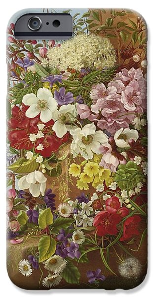 A Bouquet Of Flowers On A Stone Ledge IPhone Case by Celestial Images