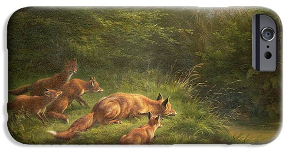 Foxes Waiting For The Prey   IPhone 6s Case by Carl Friedrich Deiker