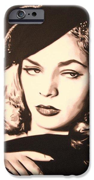 - Lauren Bacall - IPhone Case by Luis Ludzska
