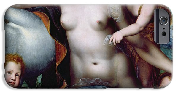 Leda And The Swan IPhone Case by Vincent Sellaer