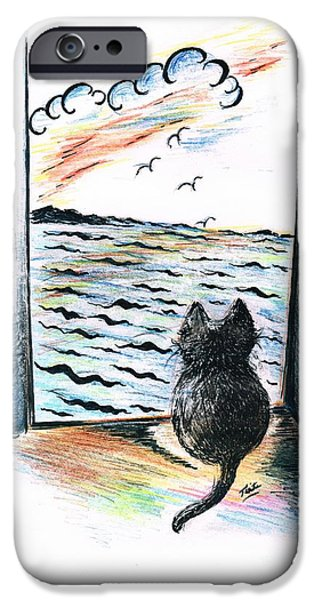Cat's- Sweet View IPhone Case by Teresa White